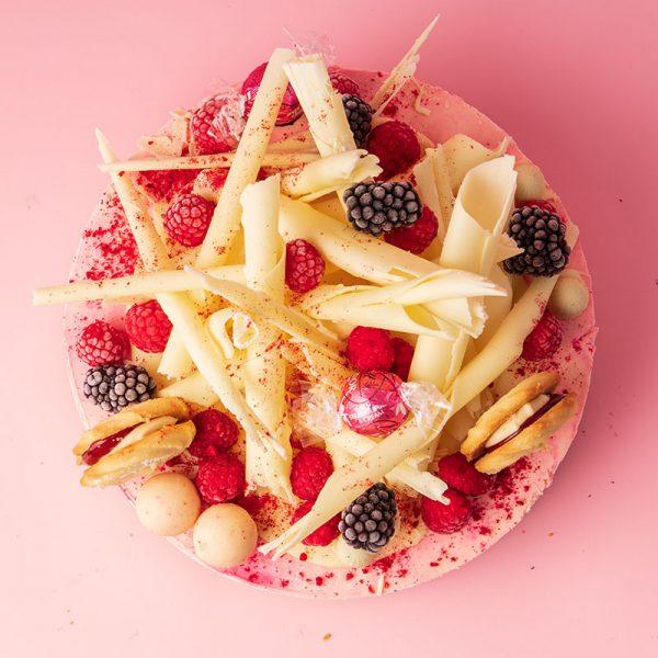 top of Raspberry White Choc cheesecake